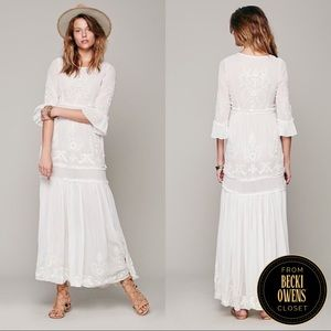 Free People RARE embroidered maxi dress